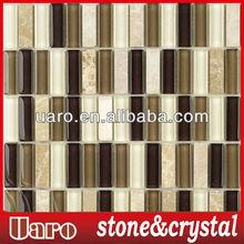 Leopard Glass Mix Stone Brick ,Piazza Decor Marble Mosaic Tiles 15x48mm