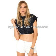 casual elastic waist blouse rolled sleeve blank ladies crop top
