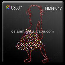 colorful hot fix rhinestone beautiful woman design