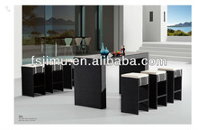 modern style cafe furniture outdoor rattan bar high table and chair