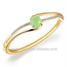 Top design green cat's eye jaipur metal gold plated bangle