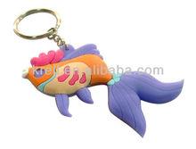 hot sale PVC custom gold fish key chain/ key ring