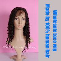 brazilian virgin hair full lace wig, deep curl, natural color