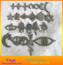 JF8159 Crystal pave pendants charms,filigreen bracelet charms