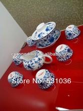 Graceful bone china 15pcs blue and white coffee sets