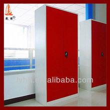 purplishred steel double door wardrobe,mirror wardrobe doors, 2 door wardrobe with mirror for person