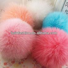 Lovely 12cm Colorful Fox Fur Pom Poms for Hats