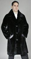 Mens sheared black mink overcoat