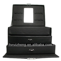 RZ-T01BP,Black Cosmetic Case Made From PU ,With Mirror And Drawers, Flannel Lining