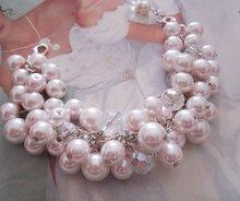 Pink Pearl and Crystal Cluster Bracelet, Rose Smoke Bracelet