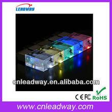 2013 beautiful eye-catching colorful led light acrylic usb can put things into acrylic body 1gb 2gb 4gb 8gb