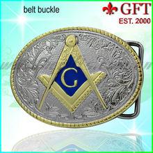 Custom Gold /Silver Masonic Enamal Belt Buckle GFT-BB1009