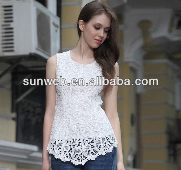 2014 styles elegant Women Summer Sleeveless Lace Hollow-out Chiffon