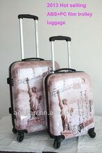 2015 shanghai manufacturer high quality new york pattern abs pc print hard luggage