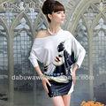 Dabuwawa female's carattere stampa off- spalla irregolare t- shirt abito tirare- sopra top