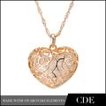 Em forma de coração oco out colar ouro arábia jóias