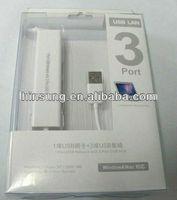 high quality usb external lan card+ 3 ports usb hub