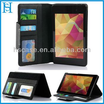 7 inch tablet leather wallet case for google nexus 7 ii