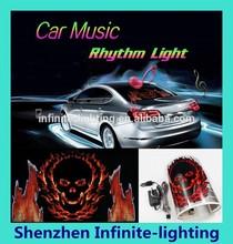 Cool Red Fire Skull Devil Car Music Activated Equalizer EL Sticker Light Kit L37