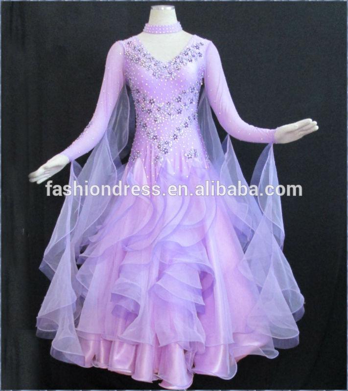 Slik organza ballroom standard dance dress,juvenile dance clothing