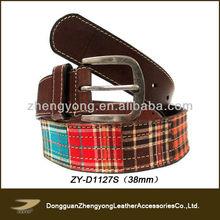 Leather canvas belt,fashion plaid belt,fabric belt