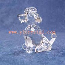 Elegante encantador de vidro claro dog figurines cristal brinde promocional