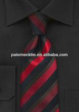 2013 Fashion Design 100 % Silk Red Black Stripe Tie