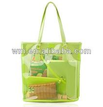 2014 fashion clear PVC beach tote bag with a pouch