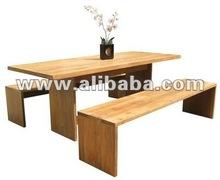 Indonesian Adonara Indoor Dining Table Set Teak Solid Wood Furniture