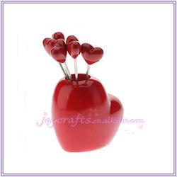 Red Love Heart Shape Fruit Pick Forks