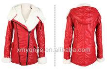 2014 fashion women PU leather cotton jackets winter hooded coat china wholesale