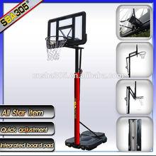standard basketball sports equipment and stand with fiberglass basketball backboard