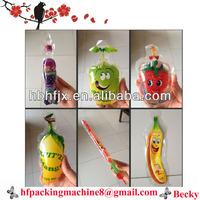 hot printing mango shape ball shape soft plastic juice bag