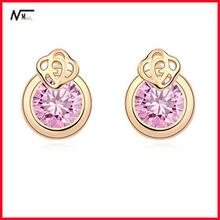New Coming Pink Crystal Gold Rose Earrings Light Up Earrings / led Earrings