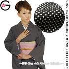 Fu-ka Japanese Traditional Kimono Restaurant Bar Hotel Staff Uniform Robe Lady Black White Plaid Edo Komon