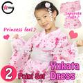 Fu-ka tradicional japonés 100% ropa de algodón albornoz polka dot con sakura de color rosa chica de niños kimono yukata vestido
