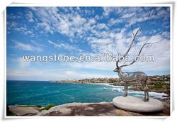 Urban decoration large stainless steel deer sculpture