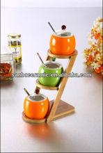 colorful bone china seasoning pot with glass lid