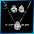 2014 classicquallity plaqué or blanc boucles d'oreilles et collier ensemble de bijoux pour les femmes