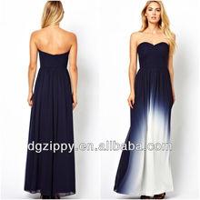 Dip Dye maxi dress Sweetheart neckline wholesale long chiffon Maxi Dress