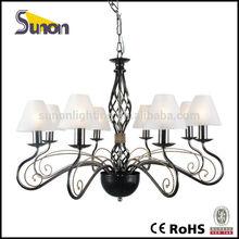 8 lights pearl black modern chandelier lamp glass shade chandelier