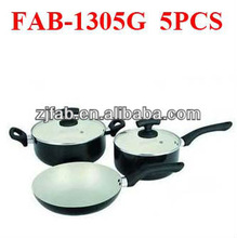 5pcs White Smart Aluminum Non-stick Ceramic Coated Cookware Set