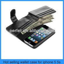 For iphone 5 wallet case Man/Women Purse Card Holder Flip Leather Wallet Case for iphone 5 iphone 5s (PT-I5L203)