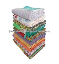 authentic indian old vintage kantha work reversible 100% cotton quilts/throw/blanket/gudari