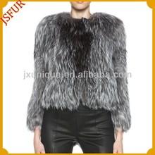2015 new italian design pattern hand knit natural real silver fox short fur women winter coats