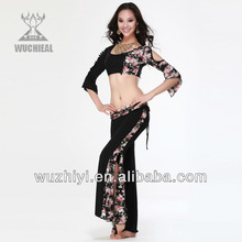 Latest Belly Dance Costumes, Black Printed Silk Cheap Belly Dance Practice Wear,Belly Dance Practice Suit (QC2070)