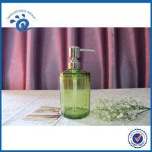 Crystal Acrylic Plastic Soap Lotion Dispenser Bathroom Set Accessories With Imitation Diamond Green Bamboo Grain