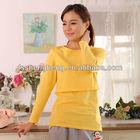 Yellow breasteeding wear lounge wear wholesale house wear maternity blouse t-shirt nursing top maternity top clothing AK021