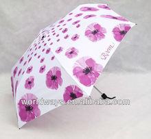 Three folds 6k fashion white lady flower pattern umbrella wholesale, UV flower pot umbrella parasol