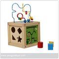 Inteligente jogo do cubo, grânulo de madeira brinquedo py1150